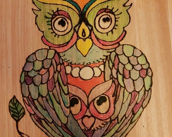 Mum and baby owl pyrography