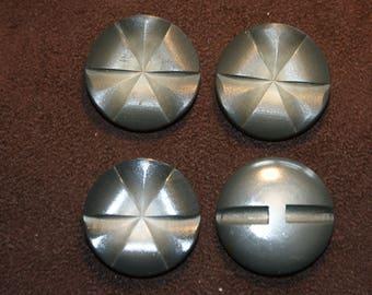 4 Large Grey vintage plastic buttons 32mm
