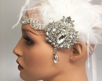 Great gatsby head piece, roaring 1920s, bridal tiarra, headband, downton abbey