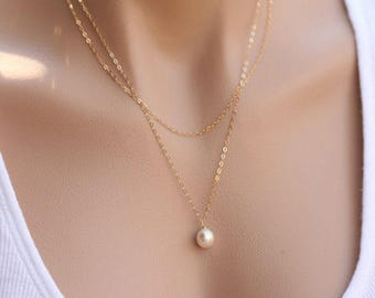 Pearl Bridesmaid necklaces, pearl necklace, pearl necklace set, gold bridesmaid necklaces
