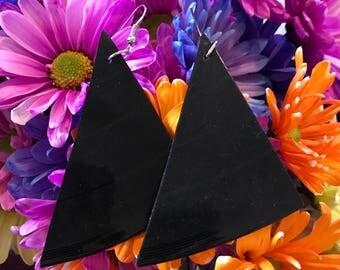 Triangle Vinyl Record Earrings