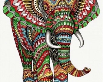 Large decorative Panel in weaving jacquard Elephant - size 140 cm x 185 cm