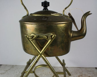 Antique Hanging Brass Tea Kettle with Black Wood Handle - Circa 1950's