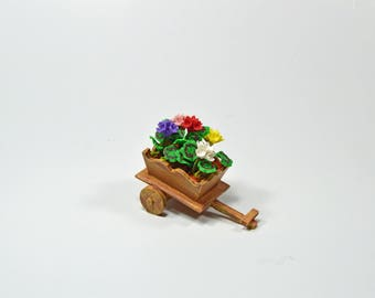 Decorative vintage miniature hand made clay flower cart~wedding gift~home decoration~cabinet display~computer desk flower~birthday flower