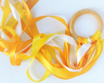 Yellow Ribbon Streamer - Hand Kite - Sunshine Party Favors - Fairy Ribbon Wand - Natural Wood Toy - You are my sunshine