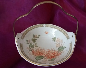 Vintage china bowl with brass handle, vintage, retro