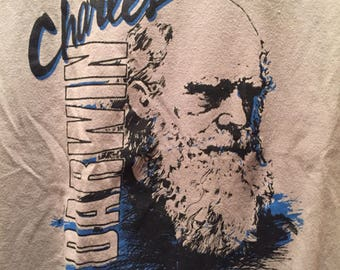 Rare Vintage 80s 90s Science Legend Charles Darwin Classic Cool Fun Style Thrift T Shirt