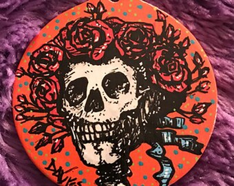 ORNAMENT - Skull and Roses Grateful Dead Ornament