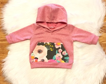 Indybloom hoodie, baby hoodie, toddler hoodie, hooded sweatshirt, indybloom, baby girl gift, baby shower gift