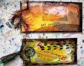 Handmade art journal, ledger journal, mini art journal, travel journal, mixed media art, journaling