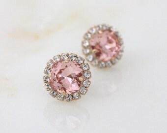 Bridal earrings, Rose gold stud earrings, Wedding jewelry, Blush crystal, Crystal stud earrings, Wedding earrings Swarovski crystal earrings