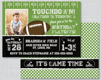 Football Birthday Party Invitations, Football Birthday Party, Football Birthday Invitations with Photo, Football Invitations, BP1008