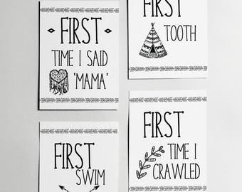 Set of 12 'Time' Milestone Cards // Foil // Baby // Gold // Real // Handmade // Kids // Months // Newborn