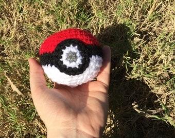 Handmade crochet red and white ball