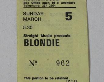 Blondie - PUNK ROCK Rare Original Concert Ticket Stub 1978