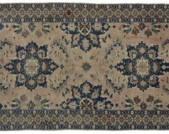"""US SELLER !!  4'7""""x8'7"""" Vintage Turkish Konya carpet Wool Rug, Navy sand color,  Oushak Rug, Antique Turkish Rug, Distressed Oushak area rug"""