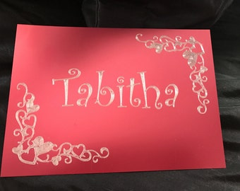 Etched metal name plate