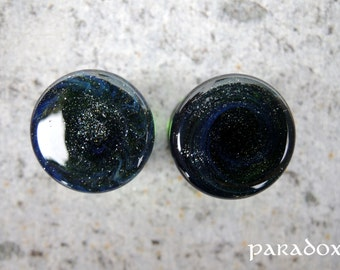 """Green night. Glass ear plugs. 14mm (9/16""""). Sold by Pair."""