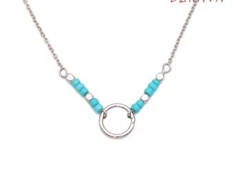 KARMA Necklace Bracelet set beads Turquoise Silver