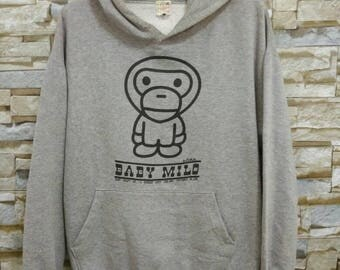 Vintage A Bathing Ape By Baby Milo Sweatshirt Sweater Hoodie Japan Brand Nigo Designer Streetwear Hip Hop Rap Swag Style Size L