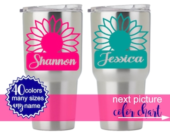 Flower Decal Yeti, Personalized Yeti Cups, Floral Yeti Decal, Flower Decal for Yeti Cups, Monogram Flower Stickers for Yeti Tumblers 5FN2Y