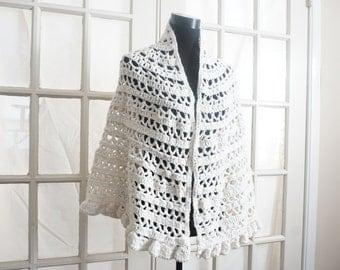 Vintage White Crochet Shawl