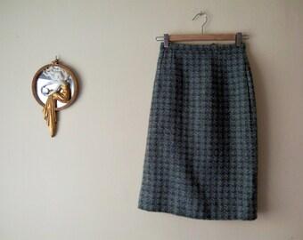 Skirt wool Tweed / / Jantzen Vintage years 50 / / green pale //Cintura high / /
