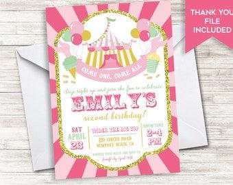 Circus Birthday Invitation Invite Girls Digital ANY AGE Pink Gold Glitter 5x7 Carnival