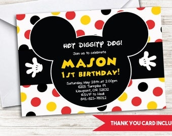 Mickey Mouse Inspired Invite Invitation Birthday Digital 7x5 Diggity Dog First 1st ANY AGE