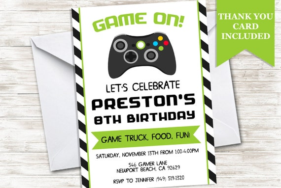 Game Truck Invitation Birthday Invite Video Games Gamer Gaming - Birthday invitation video