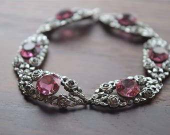 Vintage Silver Marcasite Floral Filigree Bracelet with Pink Faceted Glass Gems and Roses