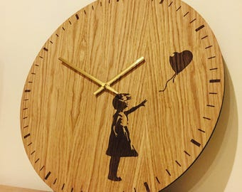 """Large wooden wall clock """"Banksy"""" unique clock alternative to wall art or canvas"""