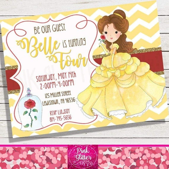 Princess belle printable birthday party invitations page three beauty invite beauty invitation princess invite this listing is for a personalized digital invite as pictured please read this entire post filmwisefo