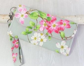Pink Dogwood Womens wallet, fabric clutch wallet, Wristlet wallet, handmade wristlet wallet, phone wallet, card wallet, checkbook wallet