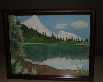 "Rocky Mountain Scene 3D Paper Art - 11""x14"" Layered Paper Landscape, Precision Cut, Hand-Drawn, Framed"