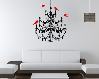Baroque Chandelier with Birds Vinyl Wall Decal / Sticker