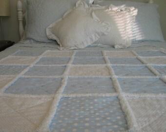 Nautical Rag Quilt / Anchors Rag Quilt / Baby Rag Quilt / Child Rag Quilt / Silver Rag Quilt / Blue Rag Quilt