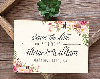 Printable Save the Date Card, Save the date template, Boho Save the Date, Floral Save the Date Card Printable, Rustic save the date