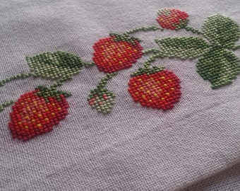 """Towel made of cotton fabric """"Strawberry"""". Hand embroidery."""