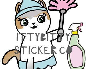 Mauly does the Chores - Hand Drawn IttyBitty Kitty  Collection - Planner Stickers