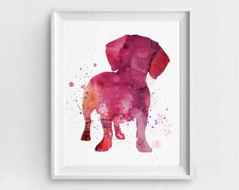 Dachshund Print, Digital Dachshund, Dachshund Poster, Dachshund Nursery, Large Wall Art, Dachshund Painting, Watercolor Dachshund, Gift