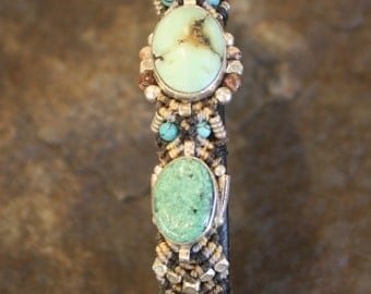 Turquoise Cuff Bracelet with sterling Silver and Leather