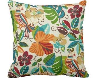 Indoor Outdoor Throw Pillow Cover -Outdoor Decorative Pillow - Bright Outdoor Pillow - Teal Outdoor Pillow - Orange Outdoor Pillow