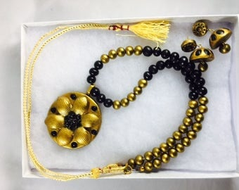 Terracotta Necklace Set - Black and Gold