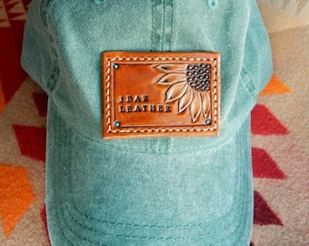 J Bar Leather Cap- Forest Green