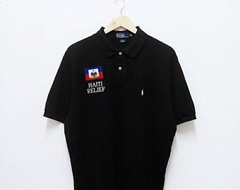 Hot Sale!!! Rare Vintage POLO RALPH LAUREN Haiti Relief United Way Small Pony Polo Shirt Hip Hop Swag Extra Large Size