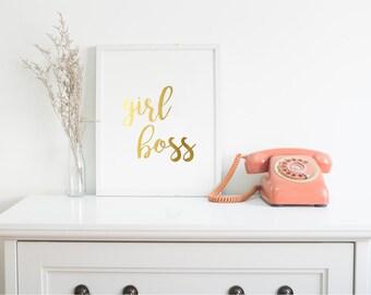 Girl Boss Motivational Gold Foil Print | Wall Art | Quote Print