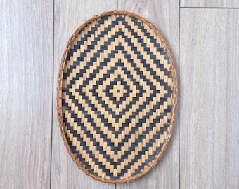Vintage black and tan basket