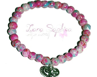 Pearl bracelet pink / turquoise with heart