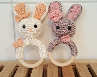 SET consisting of baby rattle, rattle with a small bunny and accompanying pacifier chain, crochet
